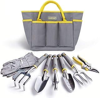 مجموعه ابزارهای باغبانی Jardineer ، کیت ابزارهای سنگین باغ با کیسه های باغبانی ، ابزار دستی آلومینیومی ، هدایای باغبانی برای زن و مرد