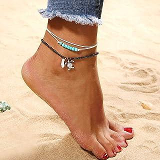 Handcess - Cavigliera a strati con perline bianche a forma di tartaruga, per donne e ragazze