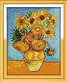 Kit de bordado de punto de cruz estampado DIY preimpreso de 11CT, línea completa de kits de inicio para principiantes: pintura de girasol Van Gogh 24x32cm