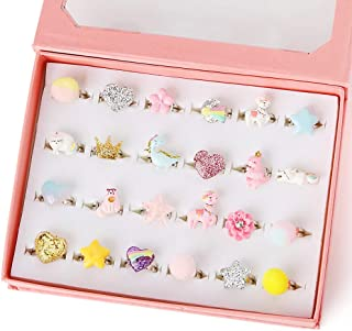 PinkSheep Little Girl Jewel Rings in Box, Adjustable, No Duplication, Girl Pretend Play and Dress Up Rings (24 Ball Ring)