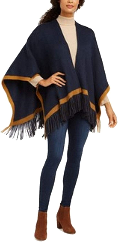 Vince Camuto Women's Pop-Stripe Fringe Soft Acrylic Wrap Shawl Poncho Cardigan Open Front, Navy