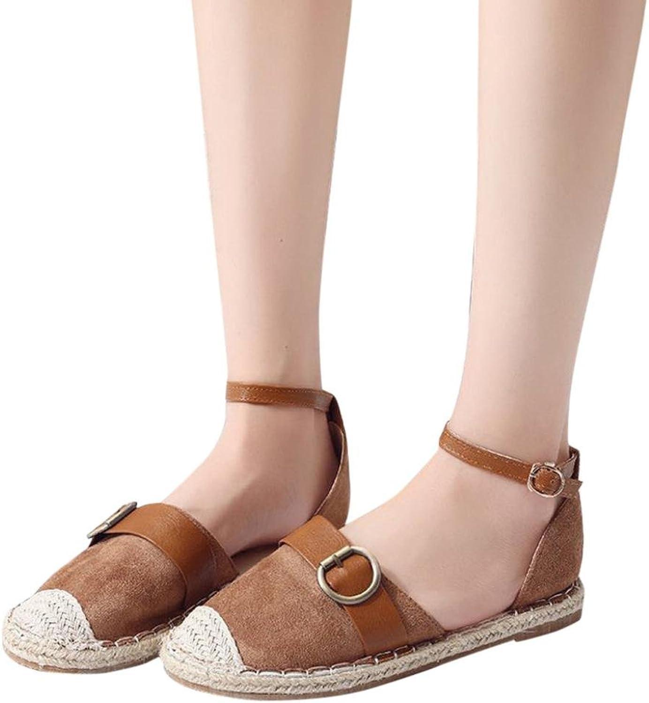 Fheaven Women Sandals Espadrilles Summer Holiday Sandals shoes Strap Buckle shoes Hot Pink