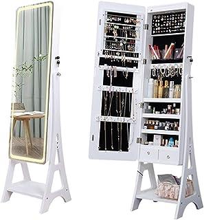 Armoire à Bijoux avec Miroir Organisateur Bijoux Miroir Intelligent Miroir À Domicile Cosmétiques Cabinet De Bijoux Avec L...