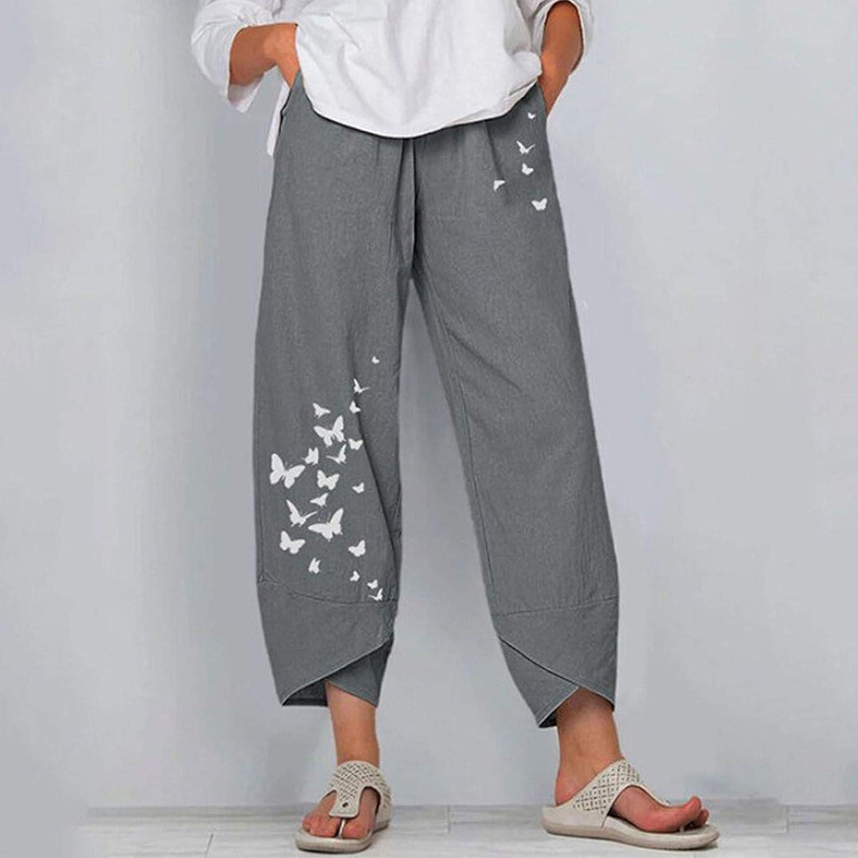 Vintage Printed Harem Pants Women Trousers Casual Elastic Waist Cotton Wide Leg Loose Pantalon Summer Plus Size Pant