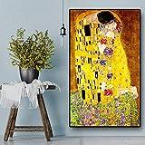 HYFBH Artista Classico Gustav Klimt Bacio Pittura a Olio Astratta su Tela Stampa Poster Arte Moderna Immagini a Parete per Soggiorno 70x120 cm (28x47 Pollici) Senza Cornice