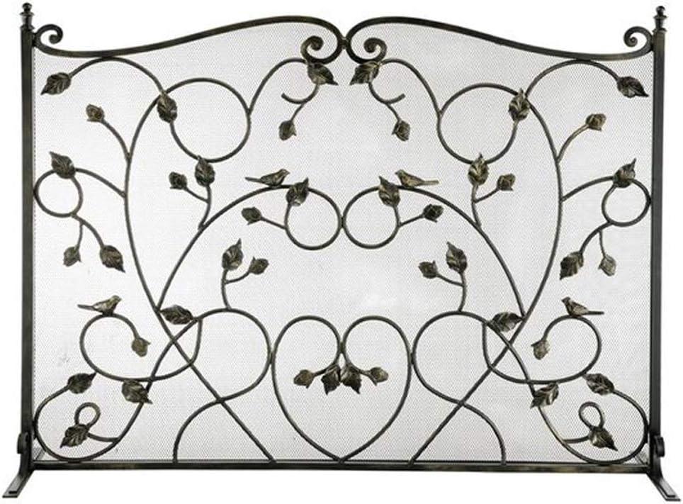 Pantalla de la Chimenea Puertas chimenea de pantalla plana grande Fire Guard pantallas de metal al aire libre decorativa de malla prueba sólida de hierro forjado Chimenea Los paneles estufa de leña Ac
