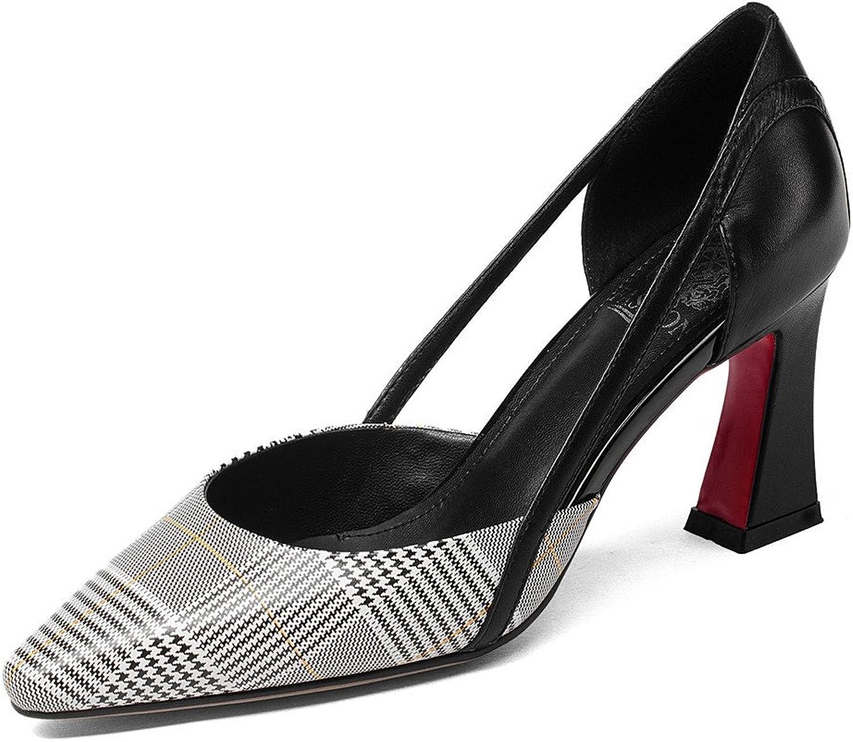 bd943ff48b Nine Seven Genuine Leather Women's Pointed Toe Chunky Heel Plaid Decorated  Handmade Fashionable Pumps