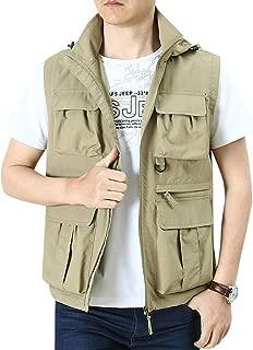 XXT Pocket Vest Polyester Fiber Men's Spring and Autumn Thin Sports and Leisure Multi-Pocket Vest Practicality (Color : Khaki, Size : M)
