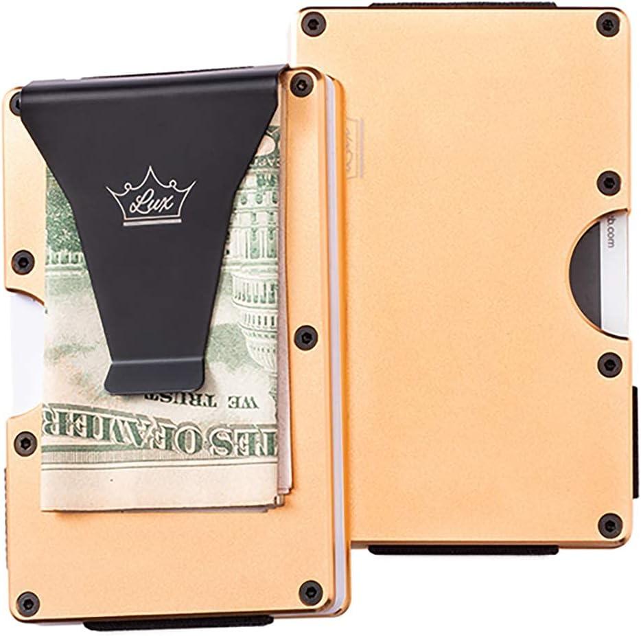Infinite Products Lux Wallet Wallet Aluminum Slim Minimalist Front Pocket Wallet Credit Card Case Holder RFID Blocking Sleek Finish (Gold)