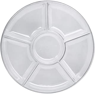 """Party Essentials Hard Plastic Round Divided Serving Tray, 1-Count, 12"""", 6-Section, Clear"""