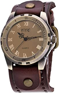 Women Quartz Watch,Luxury Shiny Women Watch Crystal Rhinestone Diamond Watches Ladies, CCQ Vintage Roman Numerals Women PU Strap Alloy Wristwatch (Dark Coffee)