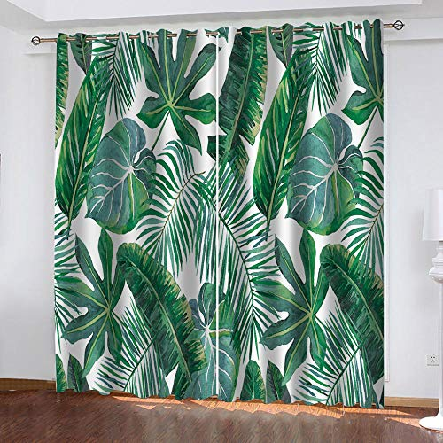 JNWVU 3D Printed Blackout Curtains For Kid'S Adult Bedroom Living Room Eyelet Soft Thermal Insulated Decorative Room Darkening Curtains For Nursery, Fresh Green Plants 300X270Cm,One Pair