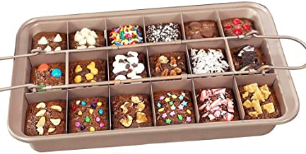 LSDD Non-stick Brownie Pan Tin with Dividers, Heavy-duty Divided Brownie Tray, 18-Cavity, 12 by 8 inches (Dark Brown)