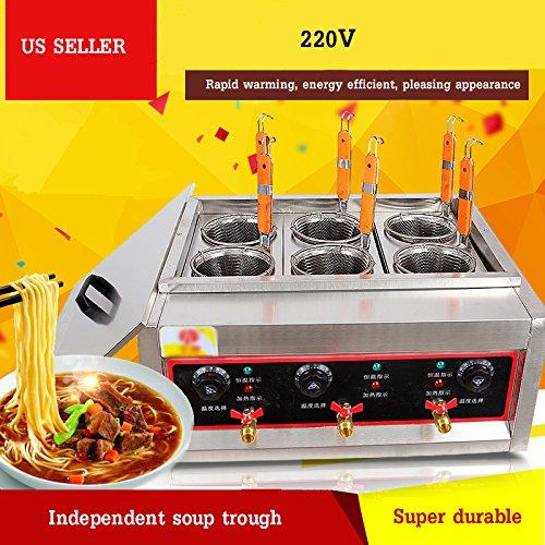 Techtongda Commercial 6 Holes Noodles Cooker Machine Electric Pasta Cooking Machine Pasta Maker 220V