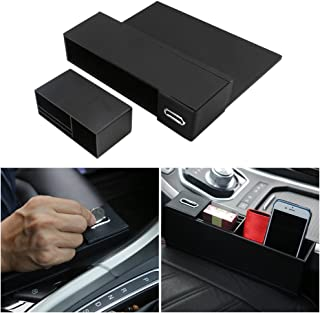 DTOUCH Racing Black Leather Car Side Pocket Organizer, Car Seat Catcher w/Multi-Compartments & Coin Holder for Key, Wallet, Phone, Sunglasses, etc Left Driver's Seat