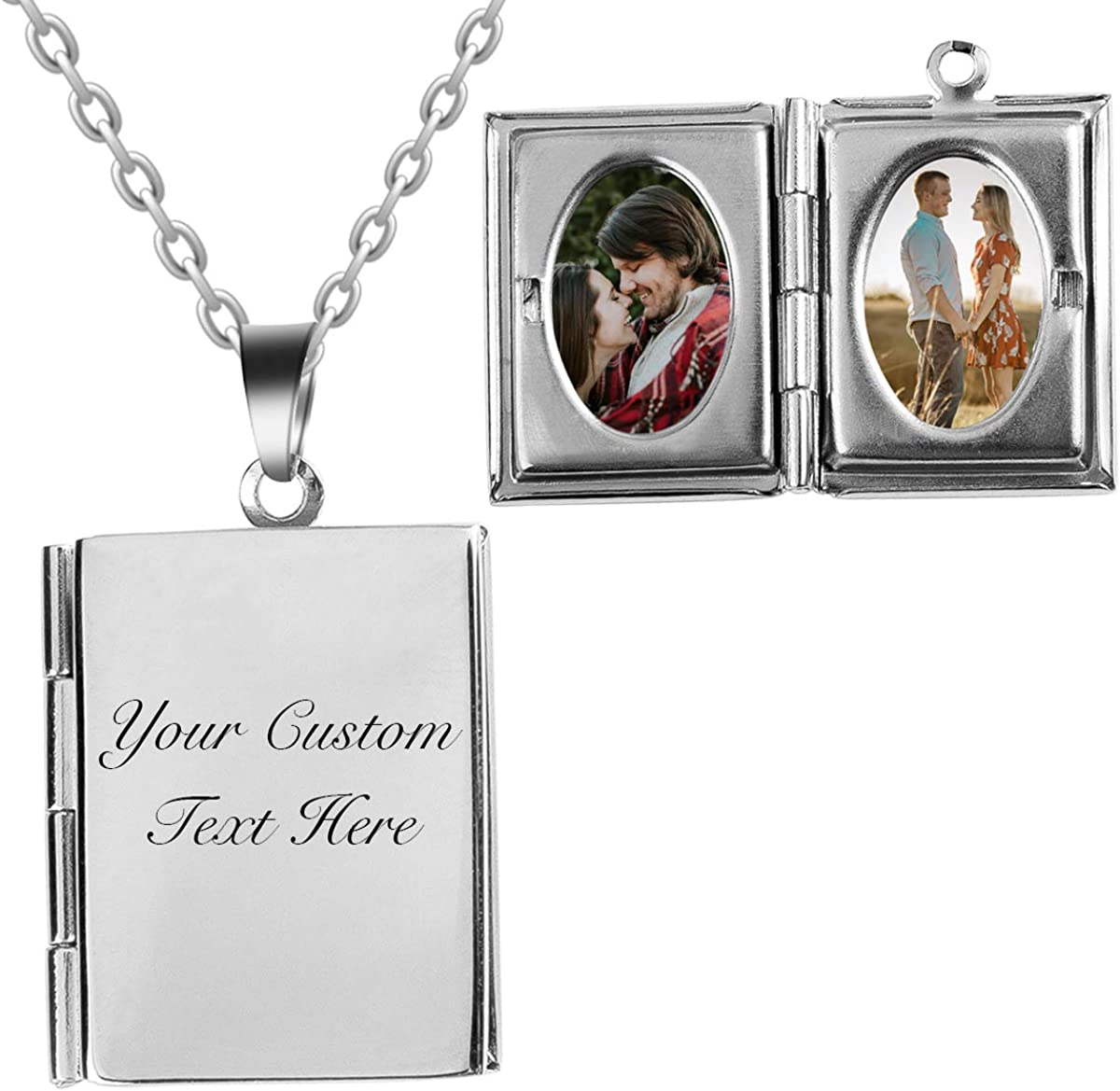 Fanery sue Personalized Locket Necklace That Holds Pictures Memory Photo Lockets Pendant Custom Any Photo and Text