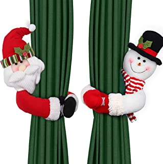 D-FantiX Christmas Curtain Buckle Tieback Set of 2, Santa Snowman Curtain Holdback Fastener Buckle Clamp Window Decorations Wine Bottle Topper Christmas Ornaments Home Holiday Décor