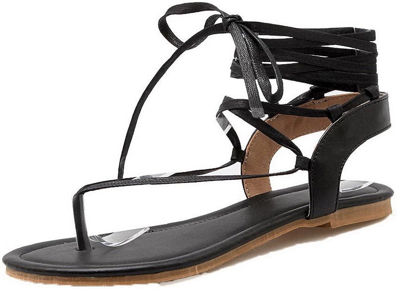 WeiPoot Women's Solid Pu Low-Heels Lace-up Split Toe Sandals