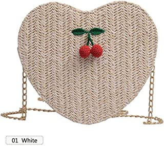Niome Heart Shape Straw Bag Love Cherry Chain Bohemia Crossbody Bag