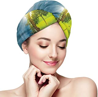 Quick Dry Hair Wrap Towels Turban,Circular Frame With Endless Green Landscape Infinity Clouds Space,Absorbent Shower Cap