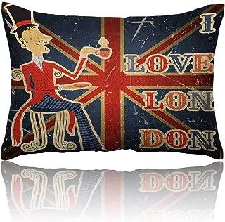 Anyangeight British Mini Pillowcase I Love London Quote English Man Drinking Tea on UK Flag Backdrop National Design Fun Pillowcase 16