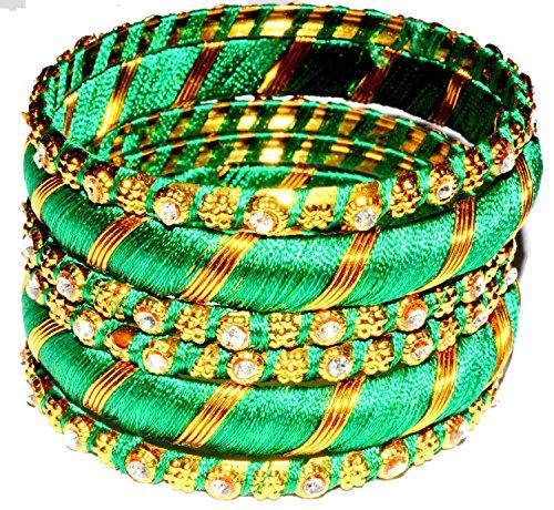 Metall Armreifen ArmbandBangle Set Bollywood Schmuck Damen Handschmuck Chudi Multicolor Geschenk Hochzeit indisch hippie mädchen modeschmuck-green,Size - 2.4 (5.7 cm)