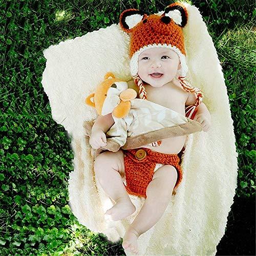 Tenues de Photographie de bébé Laine tissée à la Main Cartoon Fox Costume Set (Color : Orange, Size : One Size)