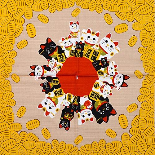 Kleine Furoshiki Japanische Geschenkpapier Tuch Shantung Chief Manekineko Gold Blume 50x 50cm aus Japan