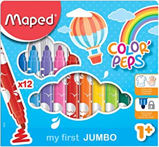 Maped Color'Peps My First Safety Tip Ultrawashable Markers, Assorted Colors, Pack Of 12 (846020)