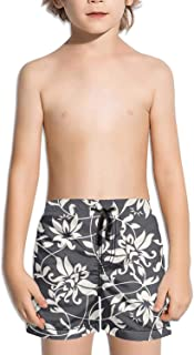 Ouxioaz Boys' Swim Trunk Autumn Vintage Lily Flowers Beach Board Shorts