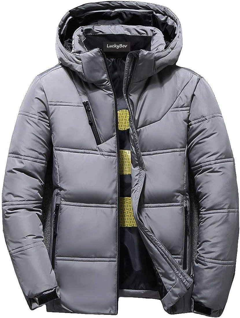 LuckyBov Men Stylish Full Zipper Puffer Coat Winter Thermal Down Jacket with Hood