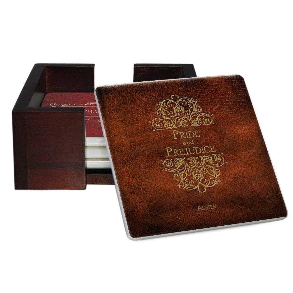 Jane Austen Popular popular Books Coaster Set - Back with Sandstone Same day shipping Cork Tile