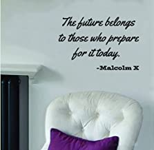 """ValueVinylArt Malcolm X Quote-The Future Belongs to.-Wall Decal Black (24"""" x 12"""")"""