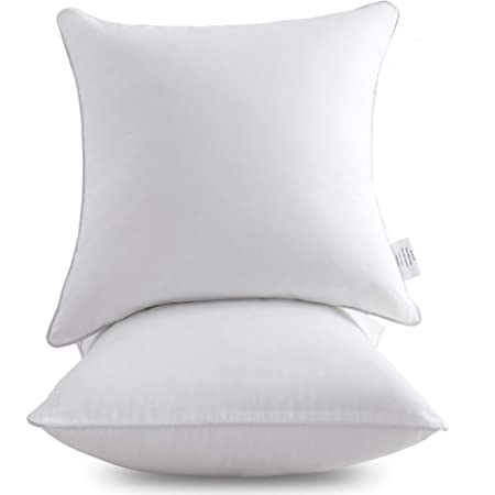 Amazon Com Oubonun 18 X 18 Pillow Inserts Set Of 2 Throw Pillow Inserts With 100 Cotton Cover 18 Inch Square Interior Sofa Pillow Inserts Decorative Pillow Insert Pair White Couch Pillow Kitchen Dining