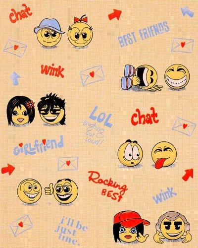 Papier peint Amusant Anime Manga EDEM 037-23 Tchat Smiley Jeunes Enfants fond orange clair 5.33 m2