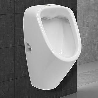 vidaXL Urinario Porcelana Montaje Pared Masculino V/álvula Sif/ón Descarga Tubo Desag/üe Incluidos Conjunto Inodoro Cer/ámica WC Dise/ño Forma Oval Negro