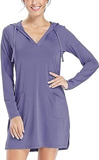 Willit Women's UPF 50+ Cover-Up Dress SPF Long Sleeve Shirt Dress Sun Protection Hiking Beach