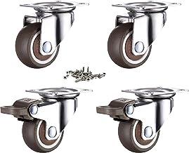 GEOCANG 4 stuks meubelwielen 25 mm met schroeven remmen, rubberen transportwielen kleine zwenkwielen voor meubels zwenkwie...