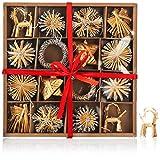 com-four Set de 56 Piezas Decoraciones para árboles de Navidad - Decoraciones para árboles de Navidad Hechas de Paja - Estrellas de Paja en Diferentes diseños