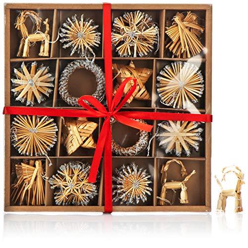com-four® Set de 56 Piezas Decoraciones para árboles de Navidad - Decoraciones para árboles de Navidad Hechas de Paja - Estrellas de Paja en Diferentes diseños