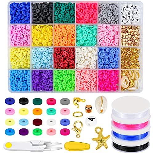Huhudde Miçangas de argila multicores planas redondas de polímero espaçador de argila com kit de pingentes para pulseiras faça-você-mesmo