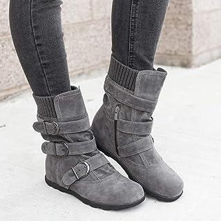 Damen Stiefeletten Martin Stiefel mit Chunkyrayan Comfort Schnallen Glatt Ankle Boots Herbst Winter Stiefel Worker Boots S...