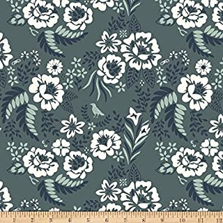 Birch Organic Fabrics Birch Organic Merryweather Floral Canvas Slate Fabric By The Yard