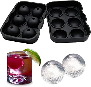 UMIGAL Eiskugelform Ice Ball Mould Sphere Silikon Ice runden Maker 6 x 4,5 cm, perfekt für japanischen Whiskey, Cocktail und jedes Getränk schwarz