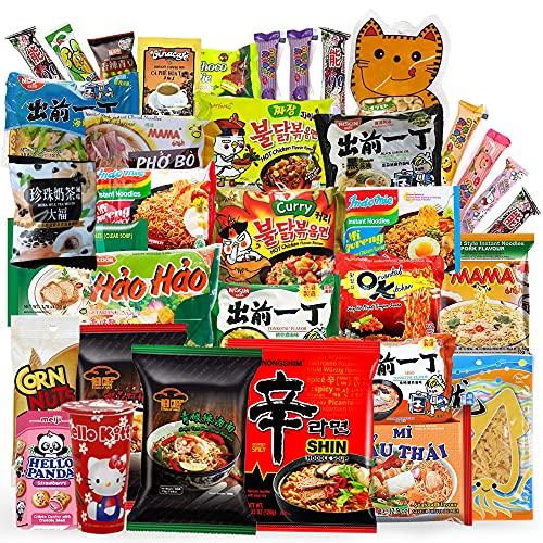 Variety Asian Instant Ramen Bundle 2.0   Samyang, Nissin, Nongshim, Mama, Mi Goreng, Acecook   Free Snacks Included   10 Packs
