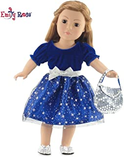 Emily Rose 18 Inch Doll Clothes | Gorgeous Midnight Star Holiday or Party Dress Outfit with Silver Sequin Shoes and Purse | Fits 18