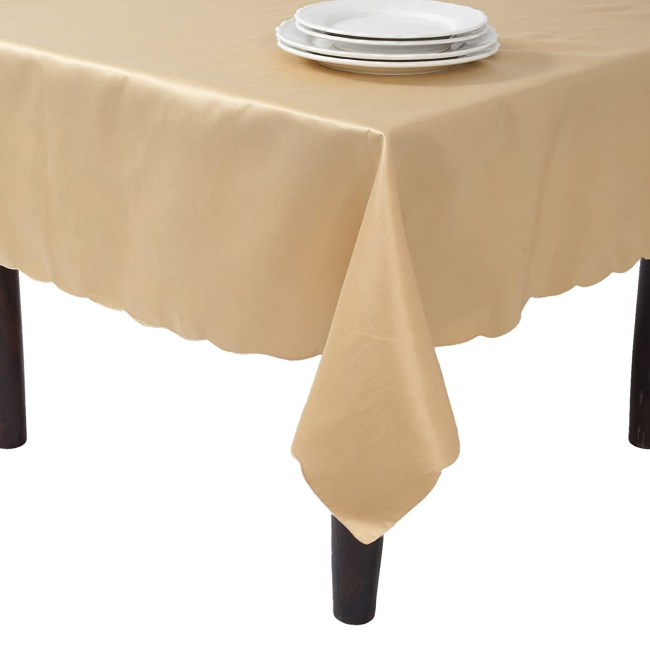 SARO LIFESTYLE LN201.GL65180B Tablecloth Liners With Satin Sheen and Scalloped Edge, Gold, 65
