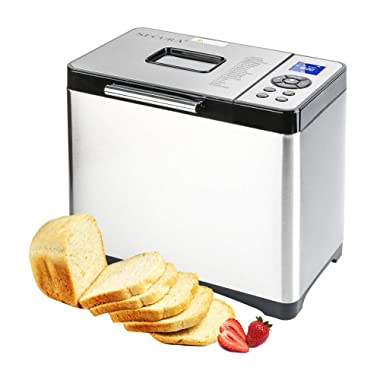 Secura Bread Maker Machine 2.2lb Stainless Steel Toaster Makers 650W Multi-Use Programmable 19 Menu Settings for Home Bakery (Silver)