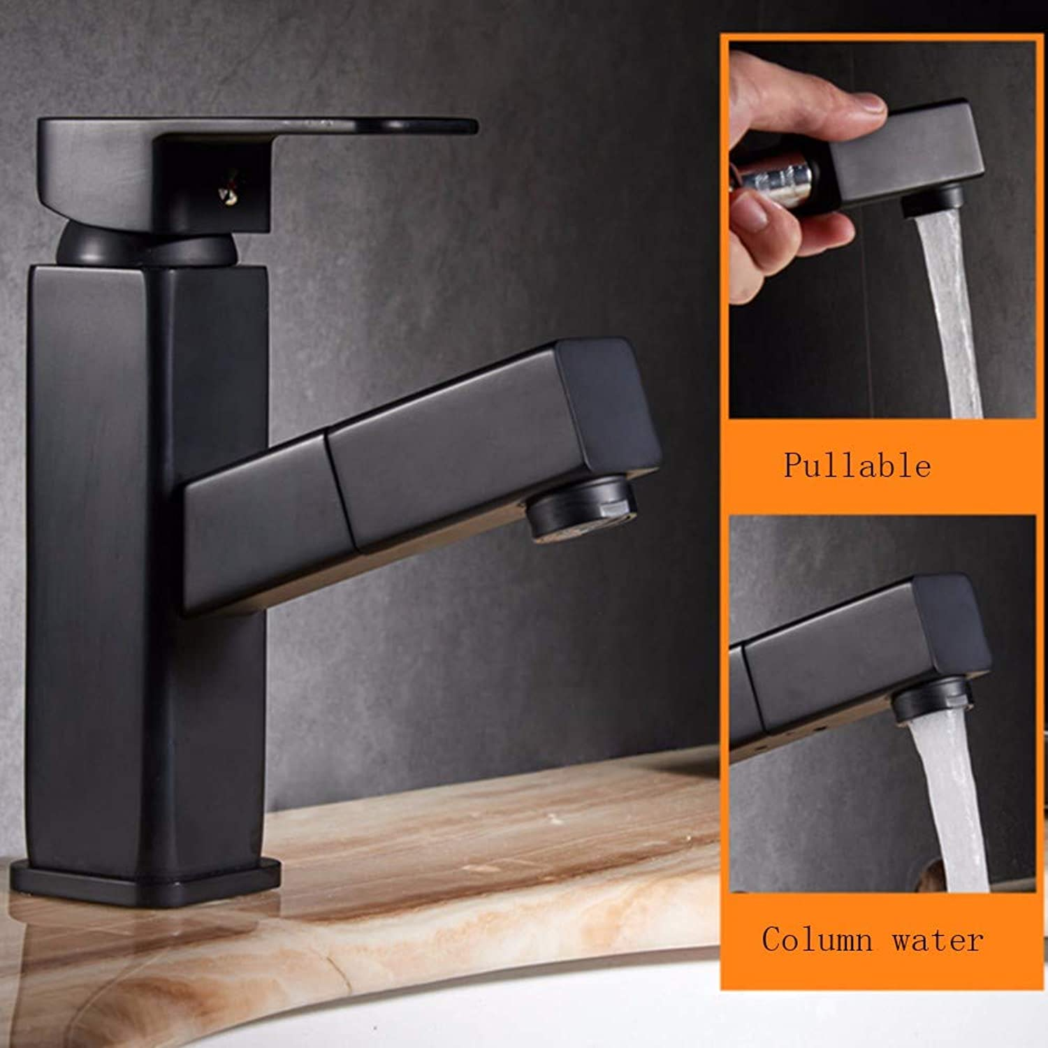 Bathroom taps Black All-Copper Pull-Type Cold and hot Water taps Table Basin Sink Basin Basin taps,A