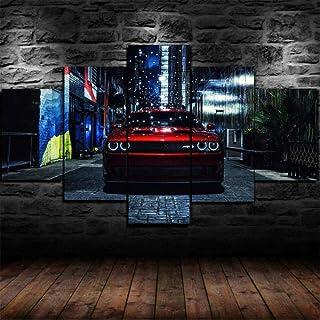 13Tdfc Cuadros Deco Salon Modernos 5 Piezas Lienzo Grandes XXL Murales Pared Hogar Pasillo Deco Arte Pared Abstracto Enmarcado Dodge Charger SRT Hellcat Red Car HD Impresión Foto 150X80Cm Regalo